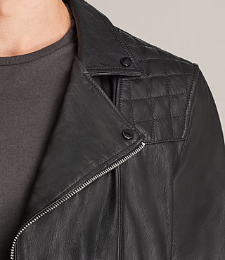 Mens Kushiro Leather Biker Jacket (Black) - product_image_alt_text_2