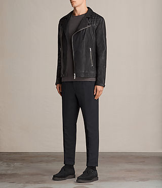 Men's Kushiro Leather Biker Jacket (Black) - product_image_alt_text_3