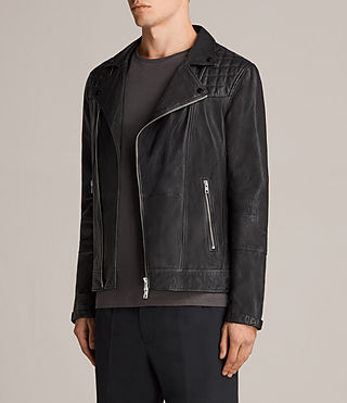 Mens Kushiro Leather Biker Jacket (Black) - product_image_alt_text_5