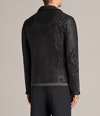 Mens Kushiro Leather Biker Jacket (Black) - product_image_alt_text_8