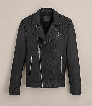 Mens Kushiro Leather Biker Jacket (Black) - product_image_alt_text_9