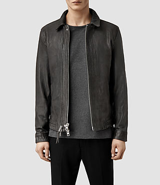 Mens Varley Leather Jacket (Granite)