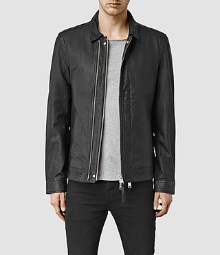 Mens Varley Leather Jacket (Black)