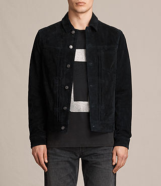 Hommes Veste Strend en cuir velours (Washed Black)