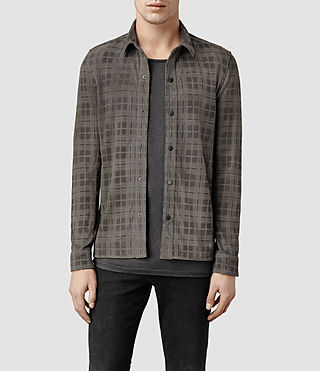 Mens Holten Leather Shirt (Anthracite)