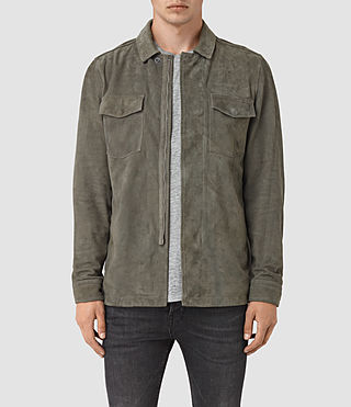 Mens Toji Suede Shirt (LIGHT SLATE GREY)