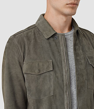 Mens Toji Suede Shirt (LIGHT SLATE GREY) - product_image_alt_text_2