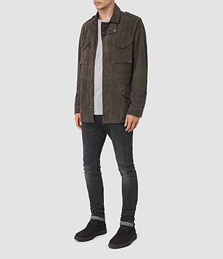 Men's Forter Suede Jacket (Dark Khaki Green) - product_image_alt_text_2