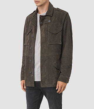 Men's Forter Suede Jacket (Dark Khaki Green) - product_image_alt_text_3