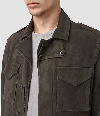 Men's Forter Suede Jacket (Dark Khaki Green) - product_image_alt_text_4
