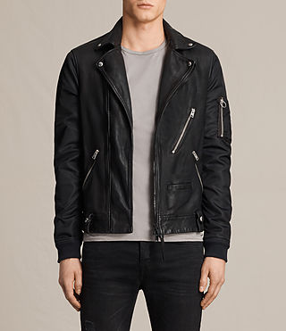 Men's Ethan Hybrid Biker Jacket (Black) - product_image_alt_text_1