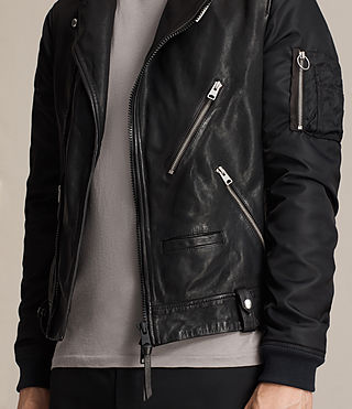Mens Ethan Hybrid Biker Jacket (Black) - product_image_alt_text_4