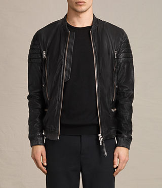 Hombre Sanderson Leather Bomber Jacket (Black)