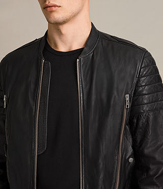 Mens Sanderson Leather Bomber Jacket (Black) - Image 2