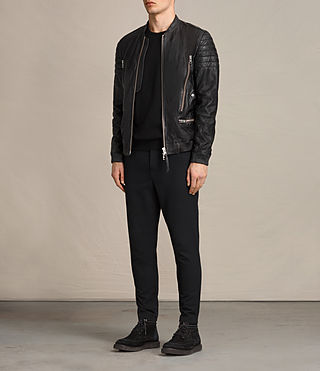 Men's Sanderson Leather Bomber Jacket (Black) - Image 3