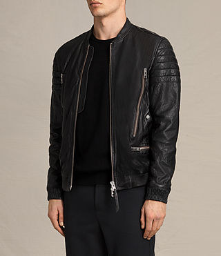 Mens Sanderson Leather Bomber Jacket (Black) - Image 5