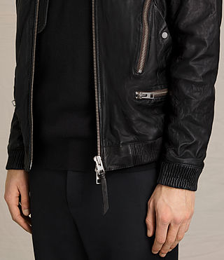 Men's Sanderson Leather Bomber Jacket (Black) - Image 6