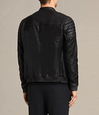 Mens Sanderson Leather Bomber Jacket (Black) - Image 7