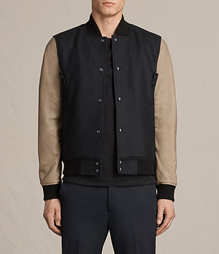 Hombre Murray Leather Bomber Jacket (INK NAVY)
