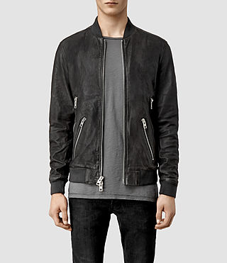 Mens Bayham Leather Bomber Jacket (Granite)