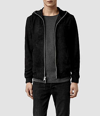 Mens Banner Leather Hoody (Washed Black)
