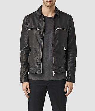 Mens Austell Leather Jacket (Black)