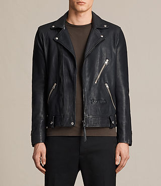 Hombres Muir Leather Biker Jacket (INK NAVY) -