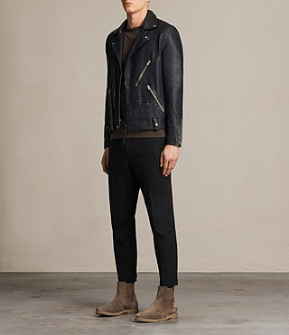 Hombres Muir Leather Biker Jacket (INK NAVY) - product_image_alt_text_3