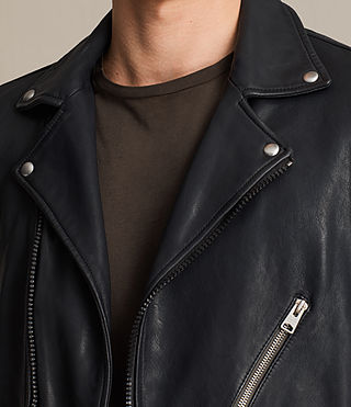 Mens Muir Leather Biker Jacket (INK NAVY) - product_image_alt_text_4