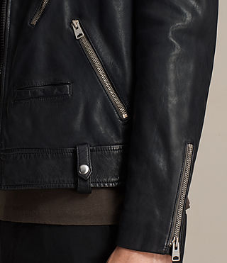 Hombres Muir Leather Biker Jacket (INK NAVY) - product_image_alt_text_5