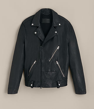 Mens Muir Leather Biker Jacket (INK NAVY) - product_image_alt_text_8
