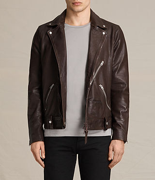 Hombres Muir Leather Biker Jacket (OXBLOOD RED)