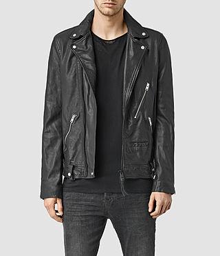 Mens Muir Leather Biker Jacket (Black)