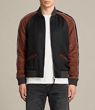 Mens Atley Bomber Jacket (BLACK/RUST RED) - product_image_alt_text_1