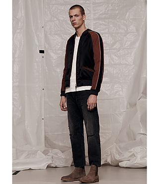 Mens Atley Bomber Jacket (BLACK/RUST RED) - product_image_alt_text_9