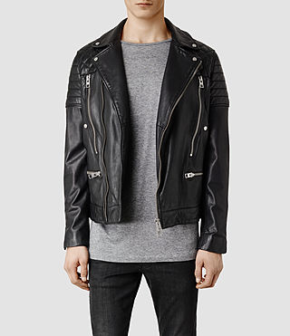 Men's Cranleigh Leather Biker Jacket (Black)