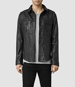 Mens Moore Leather Shirt (Black)