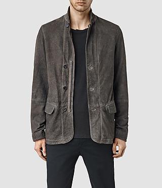 Mens Seaton Leather Blazer (Slate Grey)
