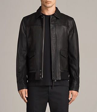 Mens Morenci Leather Aviator Jacket (Black) - Image 1