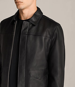 Mens Morenci Leather Aviator Jacket (Black) - Image 3