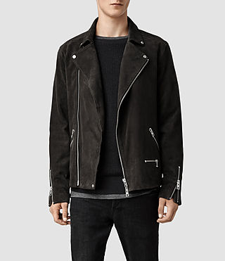 Men's Bryning Leather Biker Jacket (Airforce)