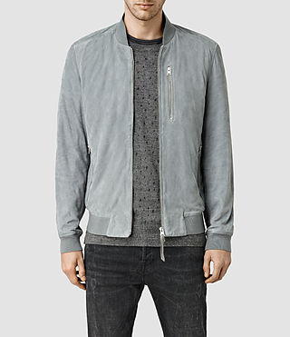 Mens Kemble Suede Bomber (Ice Blue) - product_image_alt_text_1