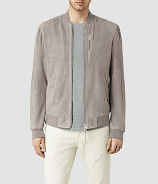 Mens Kemble Suede Bomber (Steel Grey)