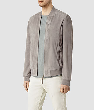 Mens Kemble Suede Bomber (Steel Grey) - product_image_alt_text_2