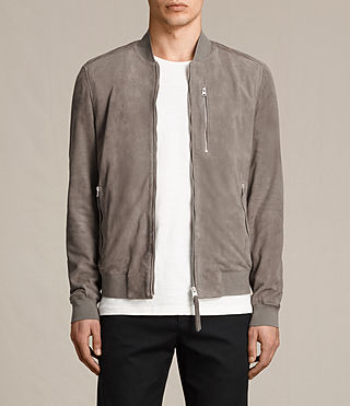 Mens Kemble Suede Bomber (Stone Grey) - product_image_alt_text_1