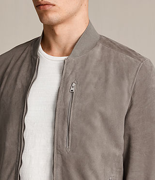 Men's Kemble Suede Bomber Jacket (Stone Grey) - product_image_alt_text_2