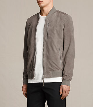 Men's Kemble Suede Bomber Jacket (Stone Grey) - product_image_alt_text_3