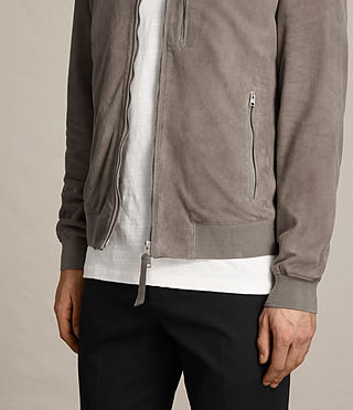 Men's Kemble Suede Bomber Jacket (Stone Grey) - product_image_alt_text_4