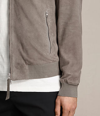 Men's Kemble Suede Bomber Jacket (Stone Grey) - product_image_alt_text_5
