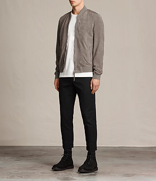 Men's Kemble Suede Bomber Jacket (Stone Grey) - product_image_alt_text_7